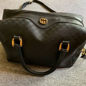 Gucci GG Monogram Crossbody Bag Black Leather